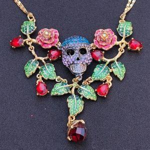 Betsey Johnson Skull Necklace Dia de Los Muertos